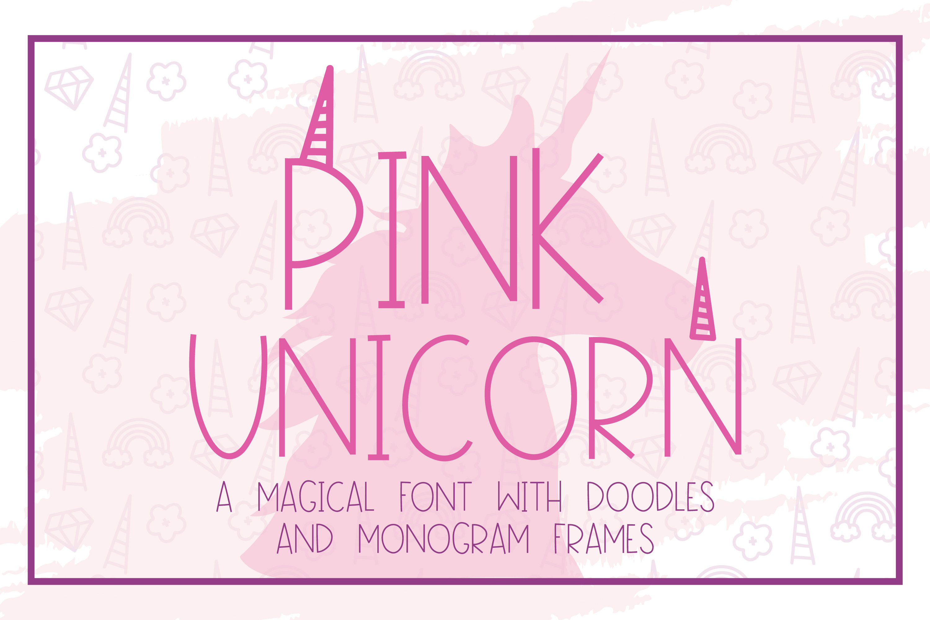 Pink Unicorn - A Magical Monogram Font example image 1