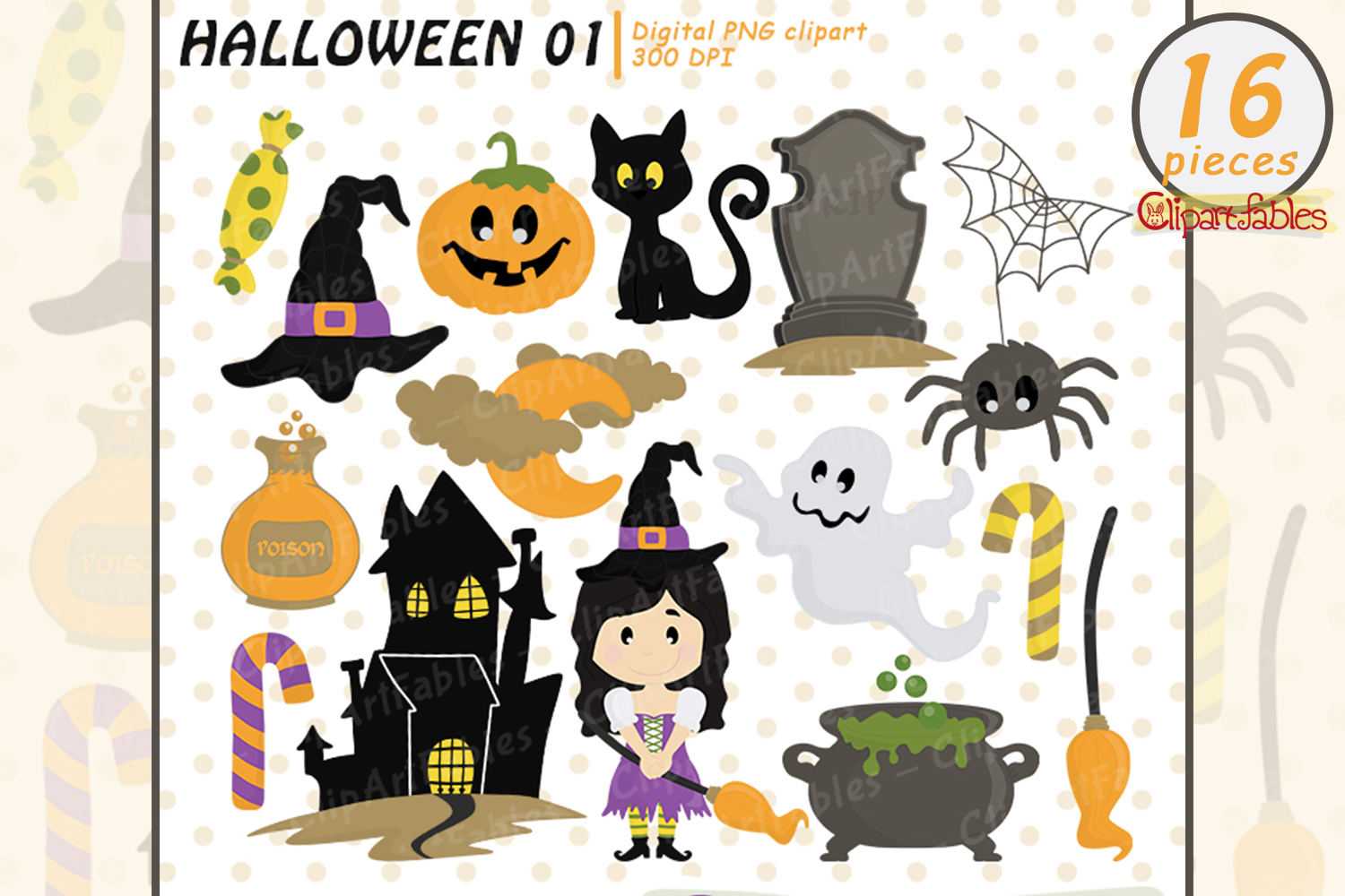 Halloween clipart package, Trick or Treat, Cute spooky art example image 1