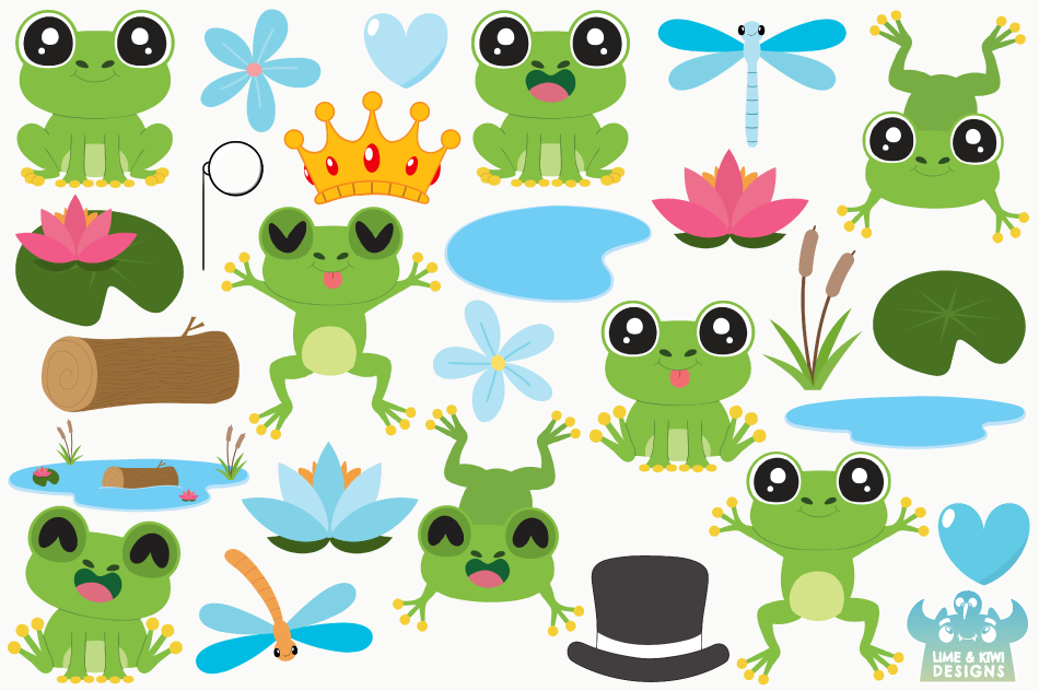 Frog Boys Clipart, Instant Download Vector Art example image 2