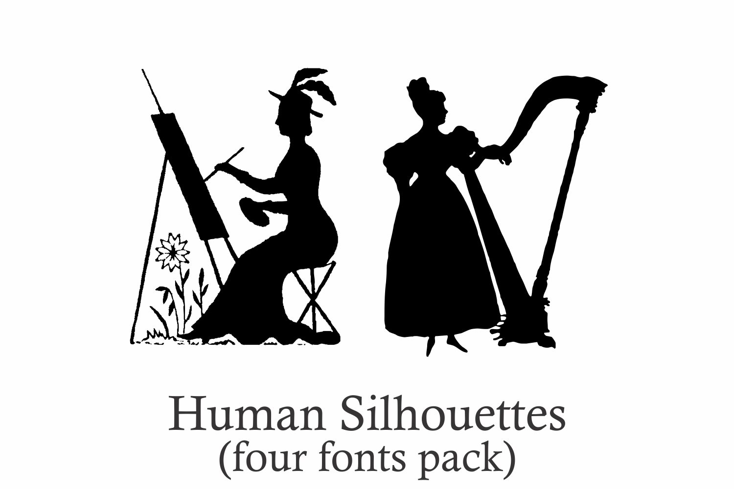 Human Silhouettes Pack - 4 Fonts example image 2