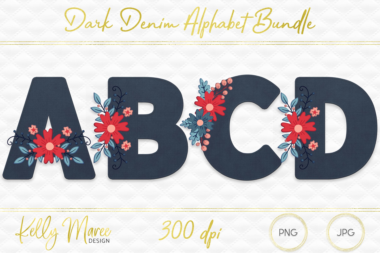 Dark Denim & Floral Alphabet Graphic Bundle example image 1