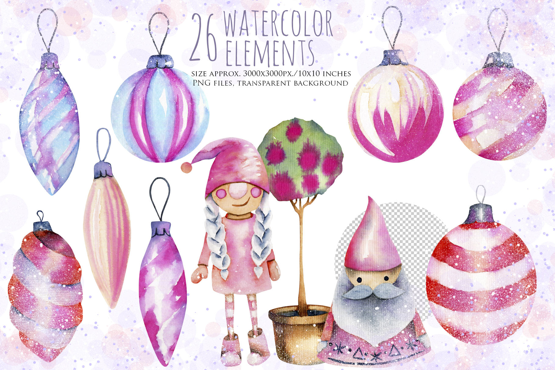 Let it snow. Watercolor Christmas clipart. example image 3