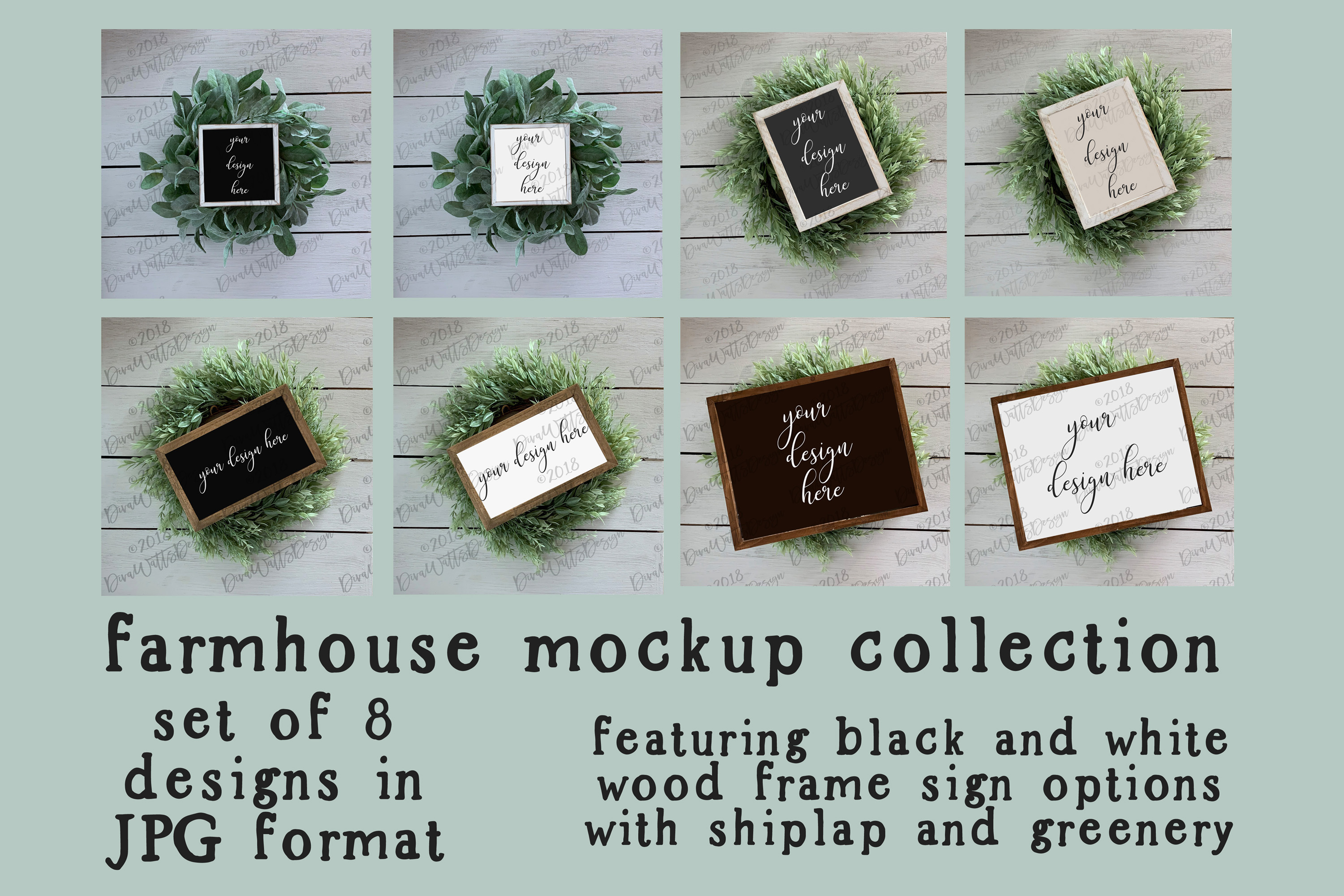 Farmhouse Wood Sign Mockup Mock-up Collection with Shiplap example image 1