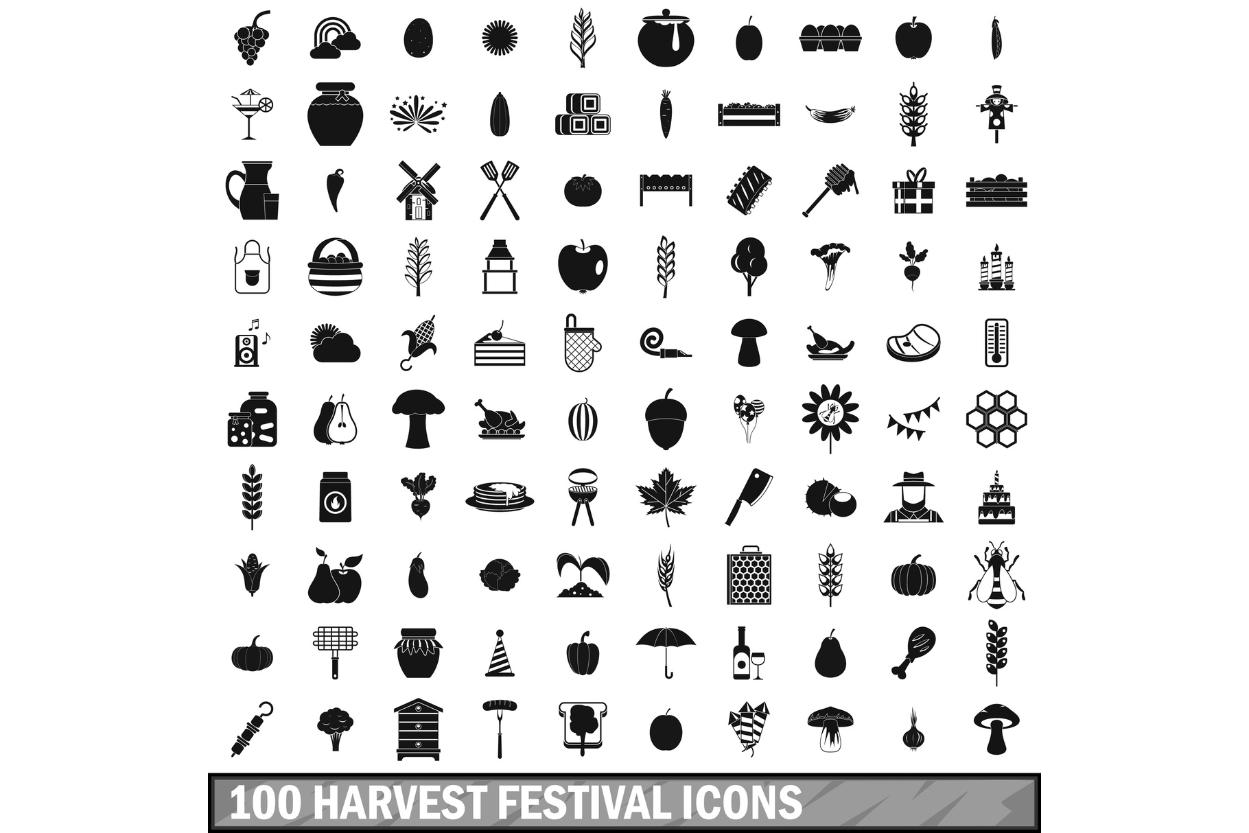 100 harvest festival icons set, simple style example image 1
