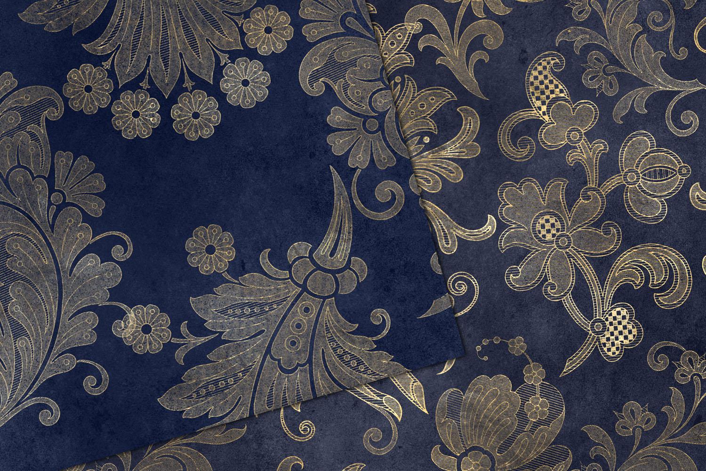 Navy Floral Velvet Digital Paper example image 2