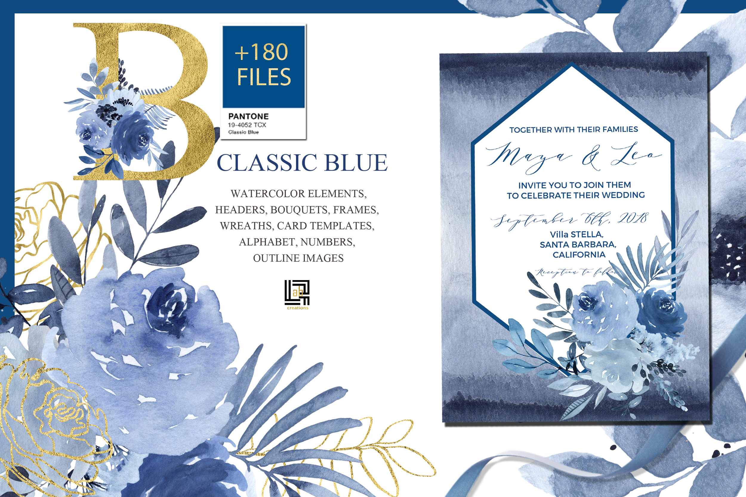 Classic Blue. Large Watercolor floral collection. example image 8