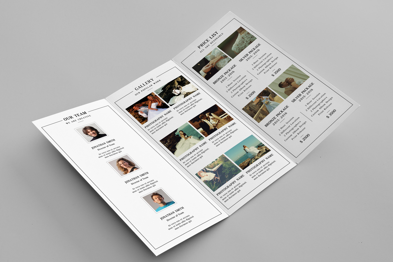 Wedding Photographer Trifold Brochure  example image 2