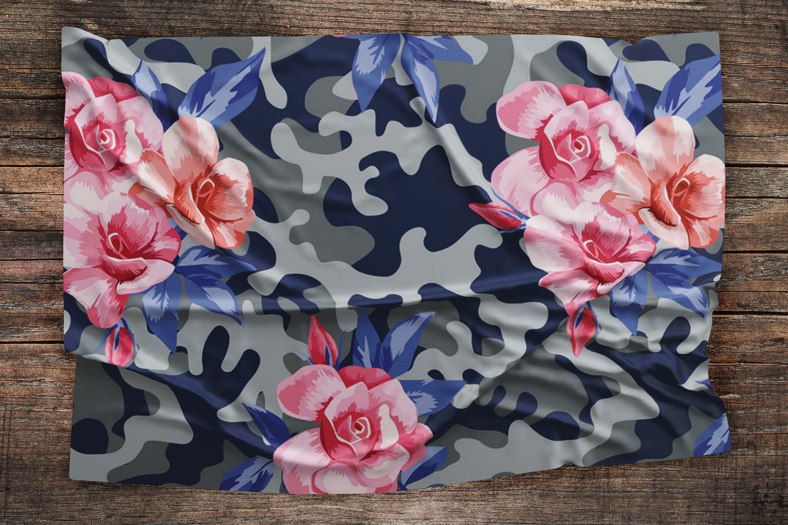 Pink roses on the camo background example image 2