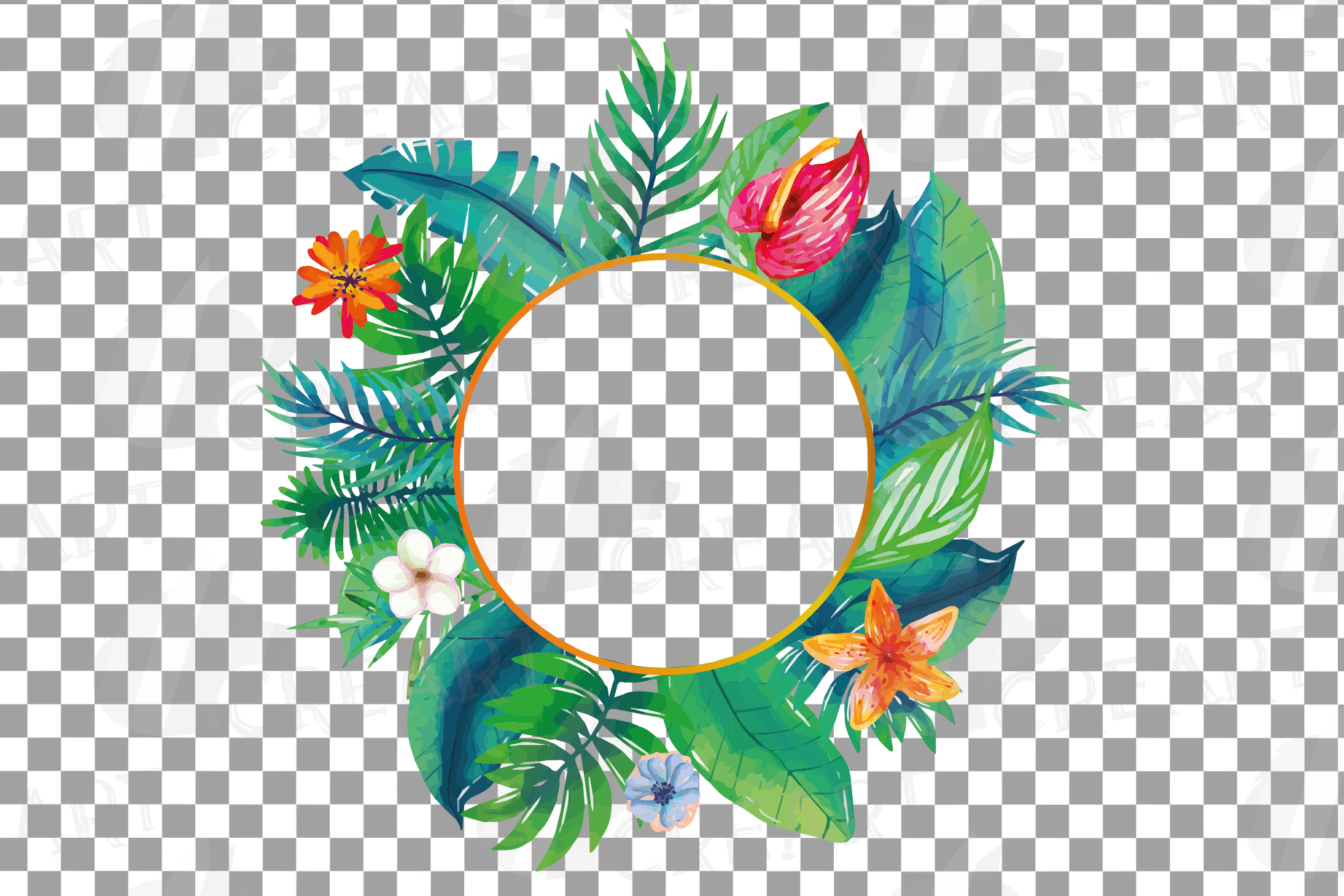 Watercolor tropical navy blue and green exotic floral frames example image 21