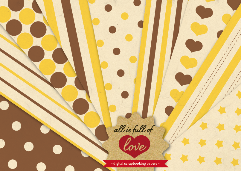Honey Vintage Background Patterns in Brown and Yellow Digital Paper Pack with Stripes, Dots, Stars and Hearts example image 1