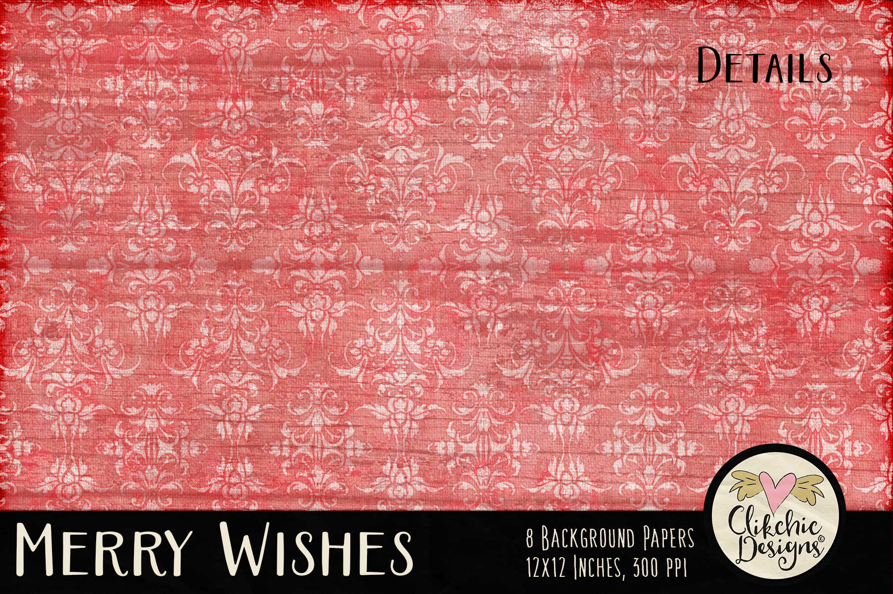 Christmas Backgrounds - Merry Wishes Digital Papers Textures example image 4