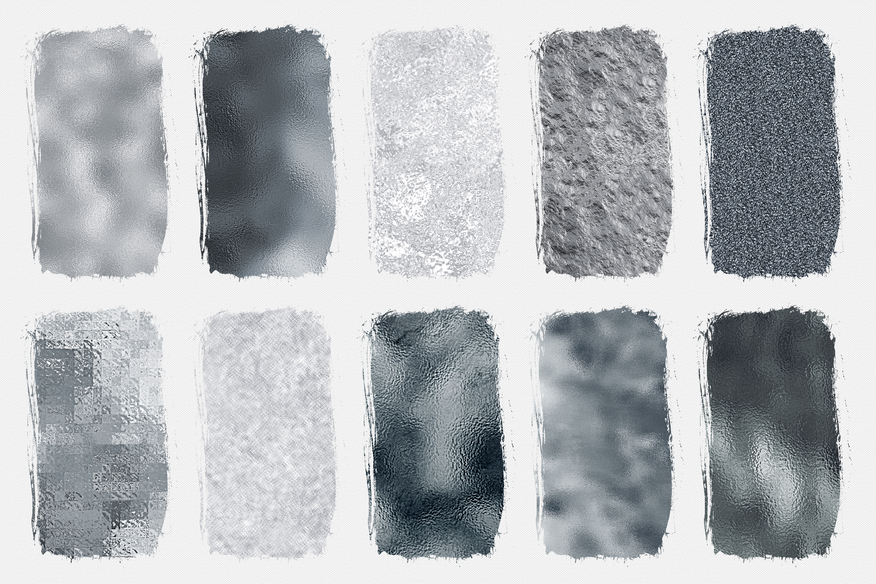 10 Silver Digital Papers - Foil and Glitter Textures example image 2