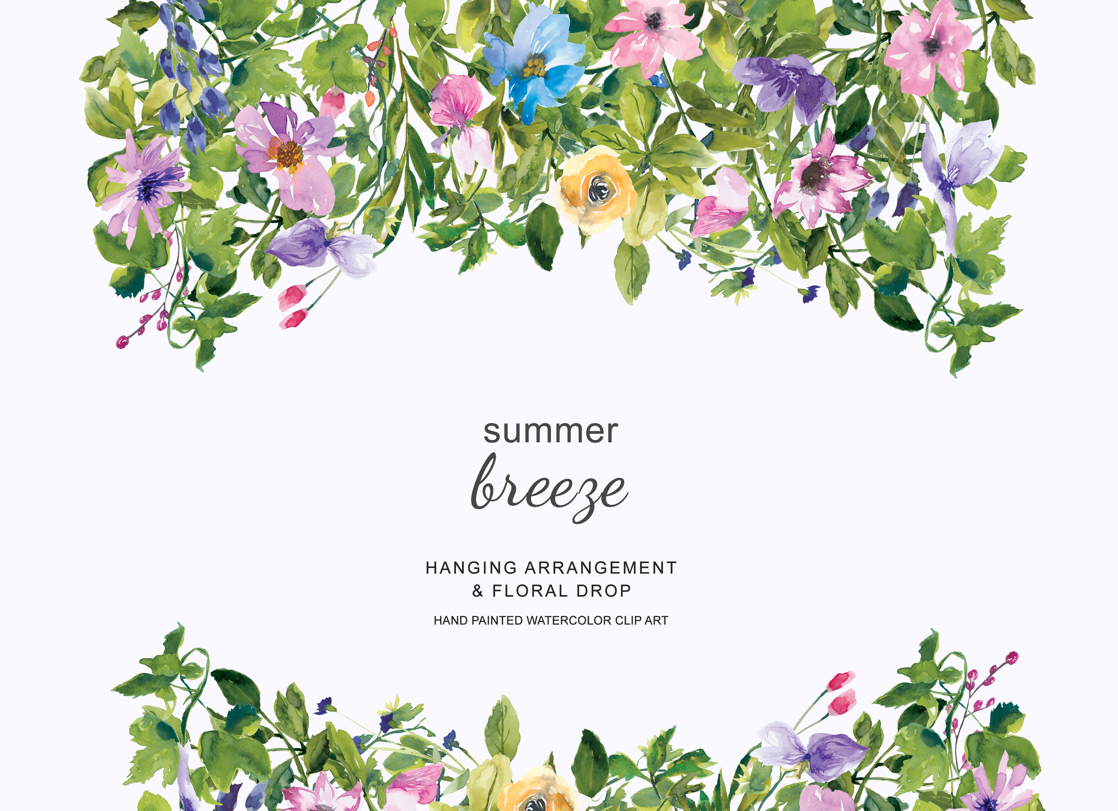 Watercolor Summer Floral Wreath And Drop Clipart Hand