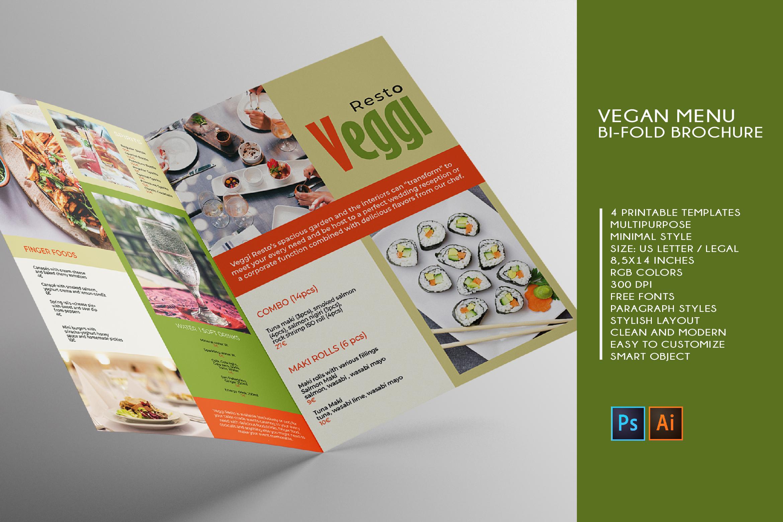 Vegan Menu Bifold Brochure A3 - AI/PSD Templates example image 1