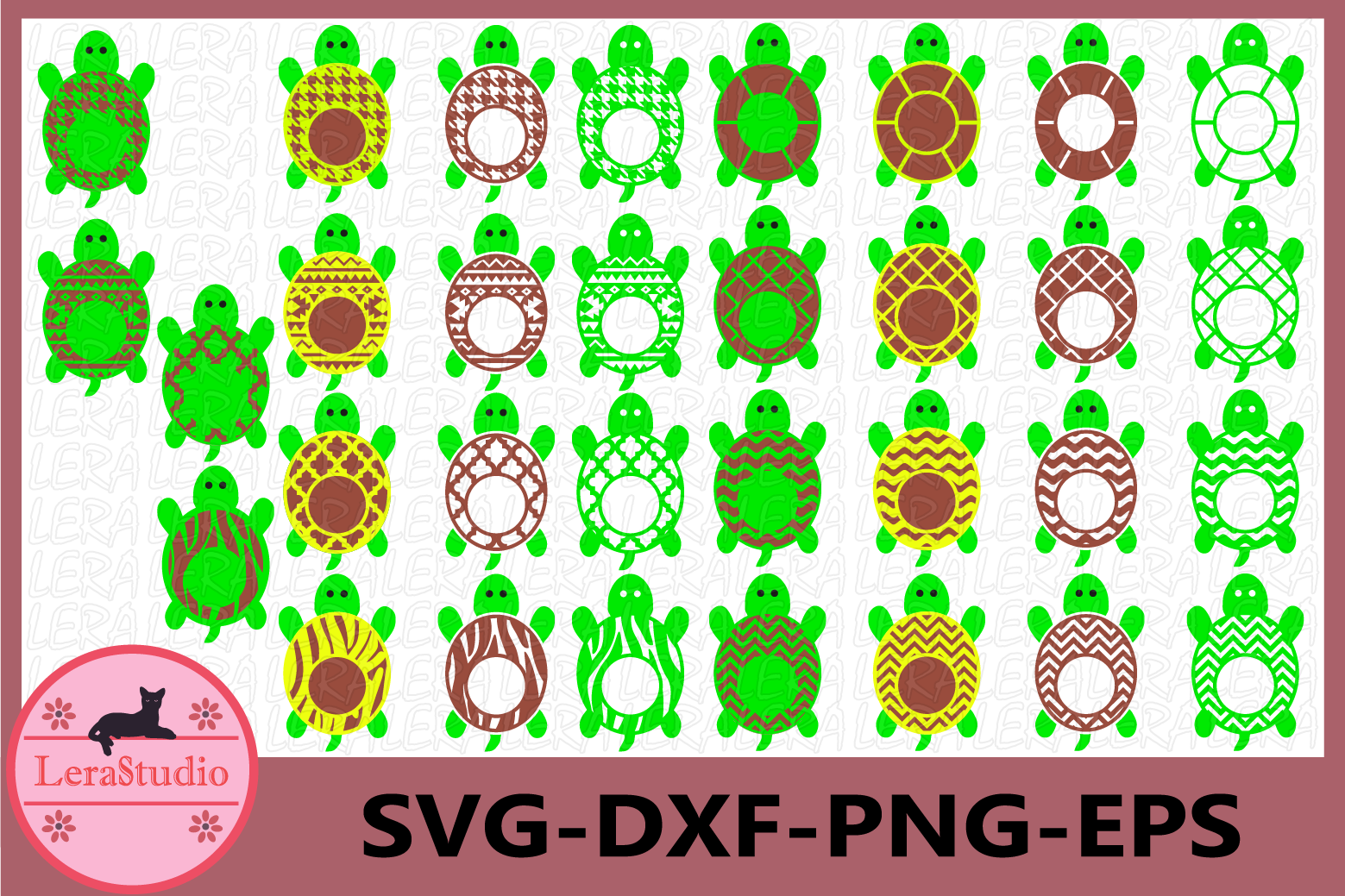 Turtle Monogram Frame SVG, Turtle SVG Cut File, Beach Turtle