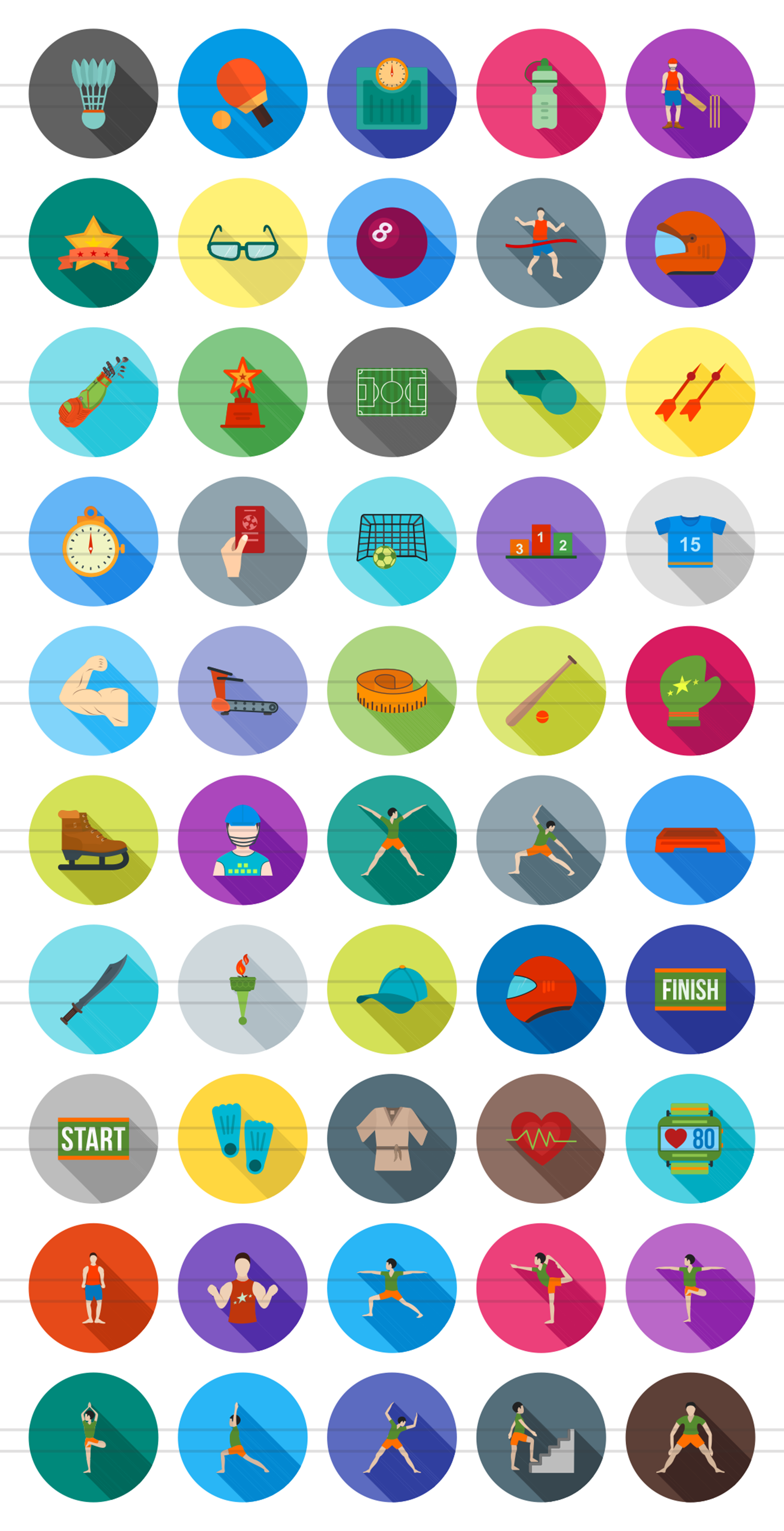 50 Fitness & Sports Flat Long Shadow Icons example image 2