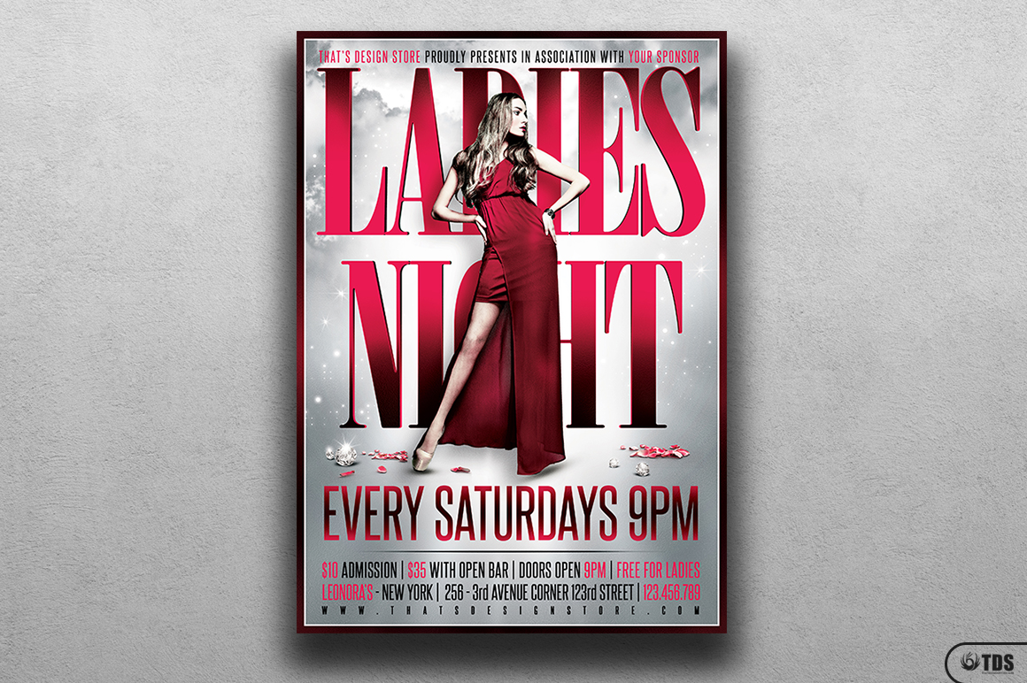 Ladies Night Flyer Poster Template V2 example image 1