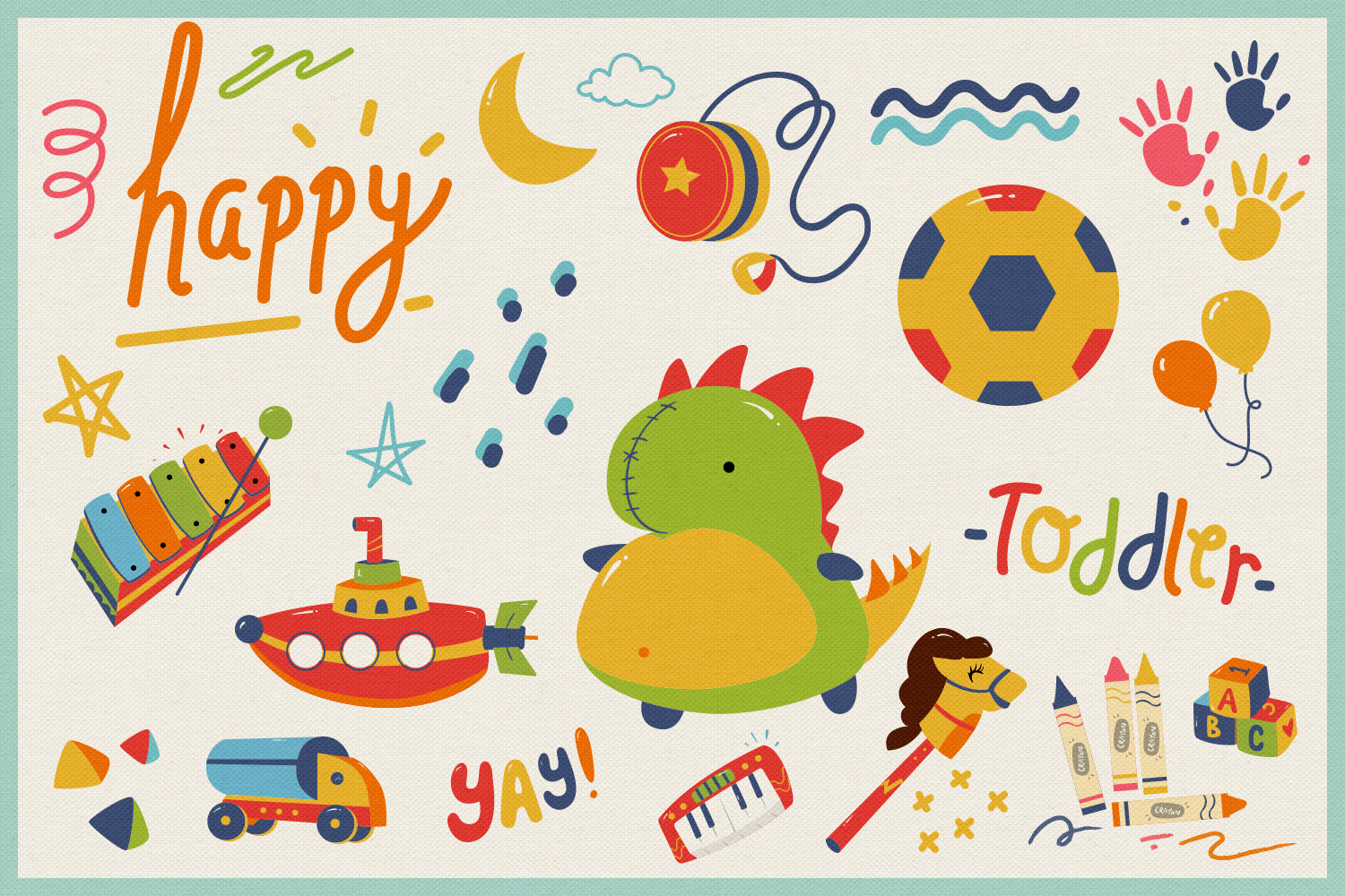 Kid's Toys Vector Cliparts & Seamless Patterns example image 5