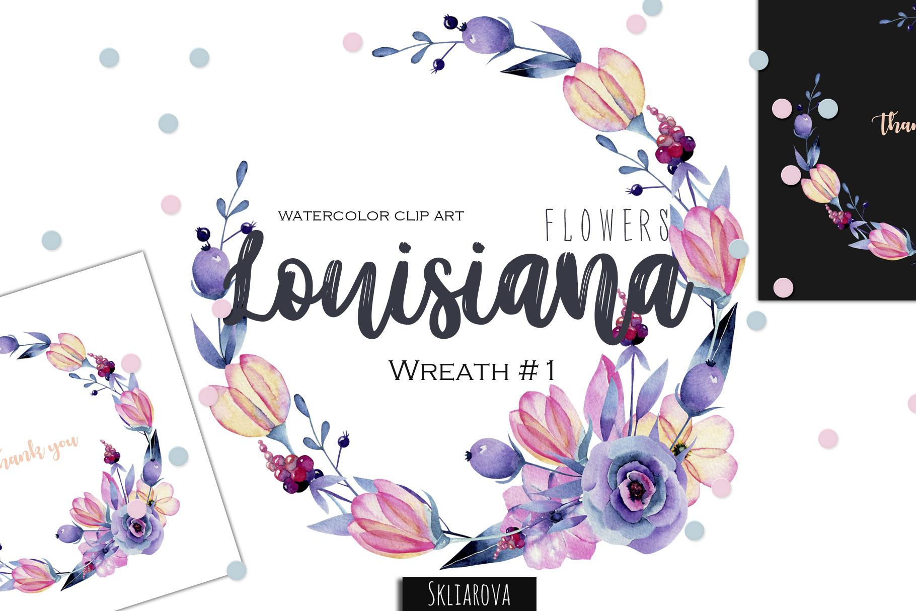 Louisiana flowers. Wreath#1 example image 1