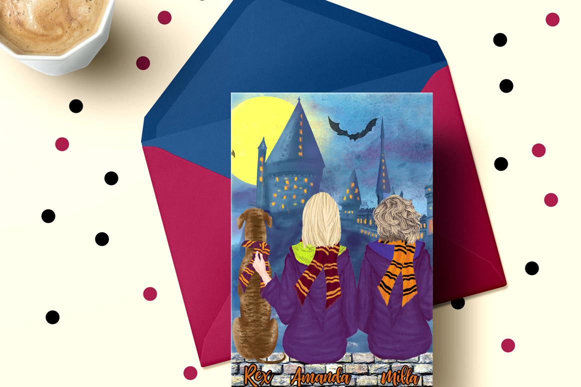 Wizard Girls, Castel Landscape, Dog clipart Wizard friends example image 2