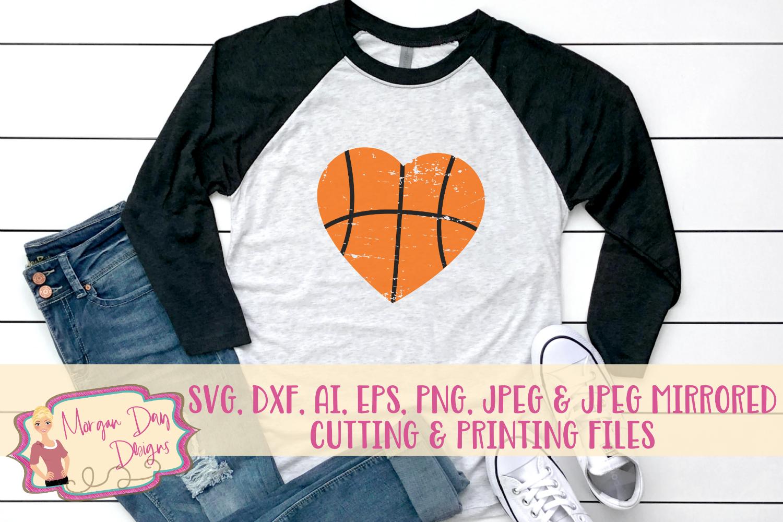 Grunge Basketball Heart SVG, DXF, AI, EPS, PNG, JPEG example image 1