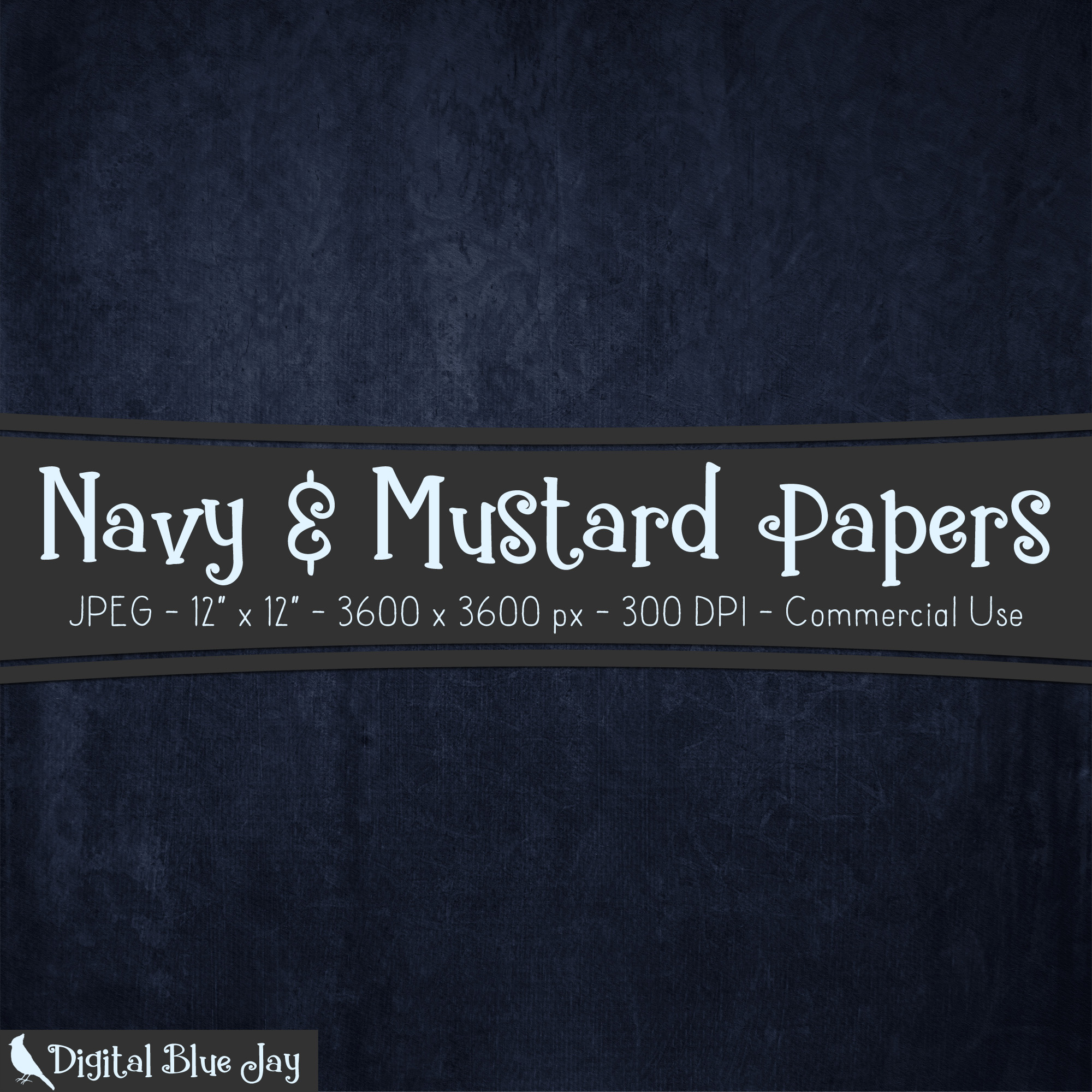 Digital Paper Textured Backgrounds - Navy & Mustard example image 2