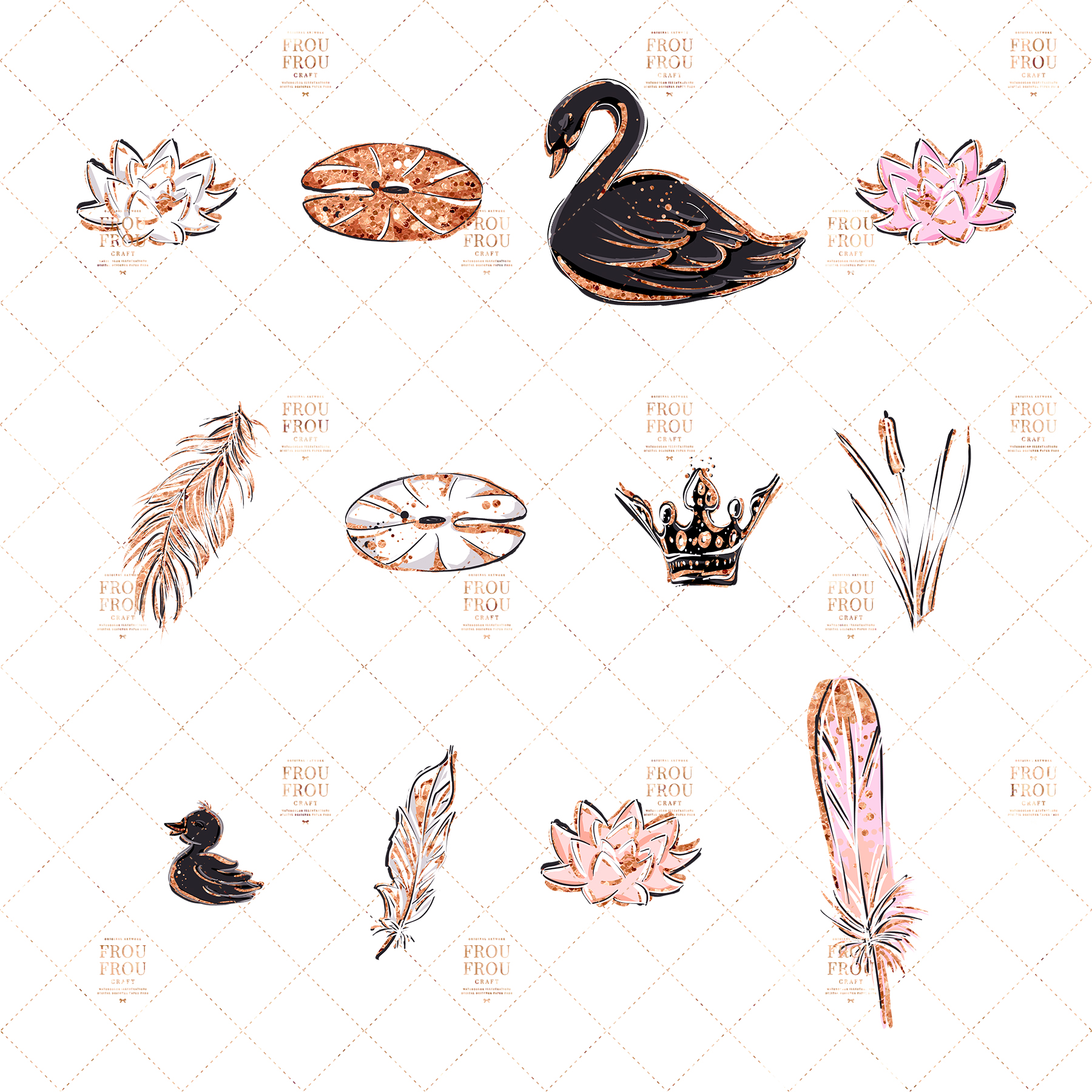 Swan Rose Gold Glitter Nursery Clip Art example image 7