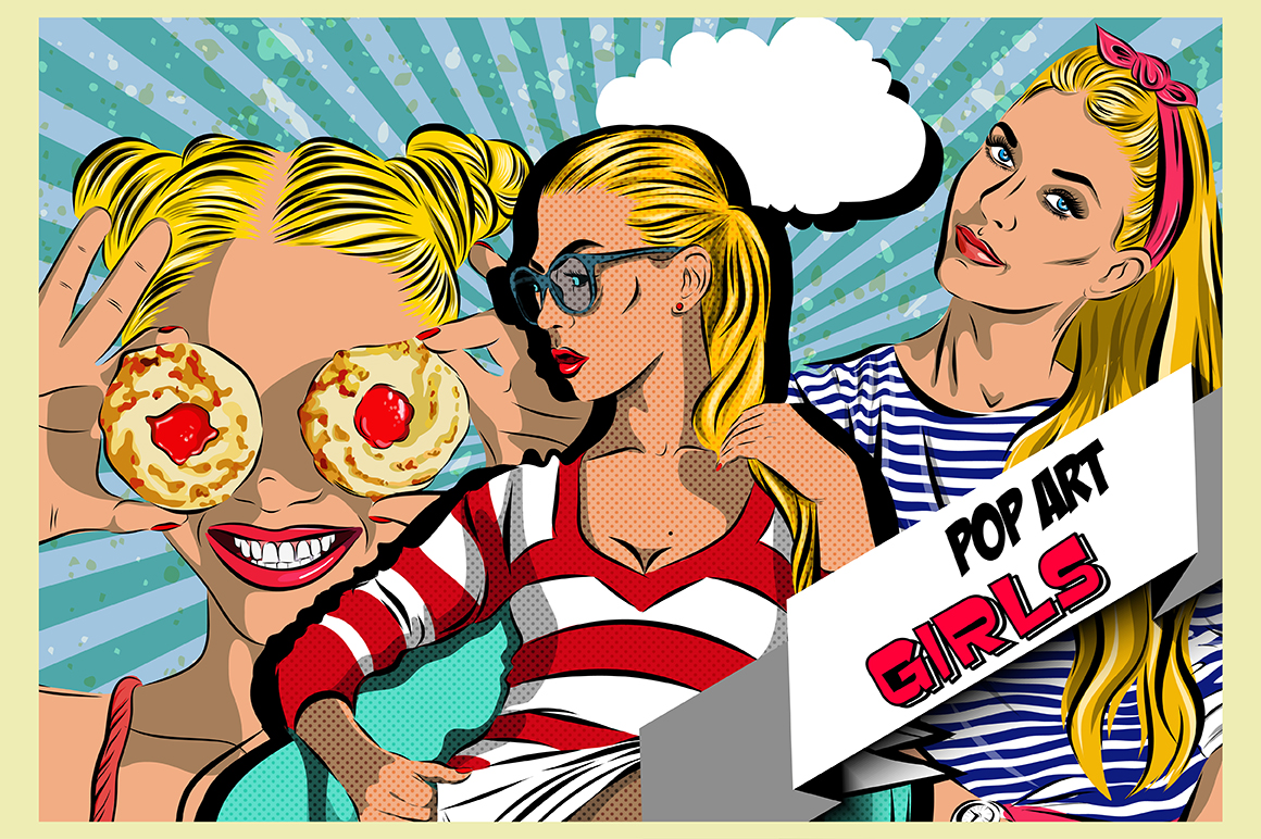 Pop art women set. Comics example image 1