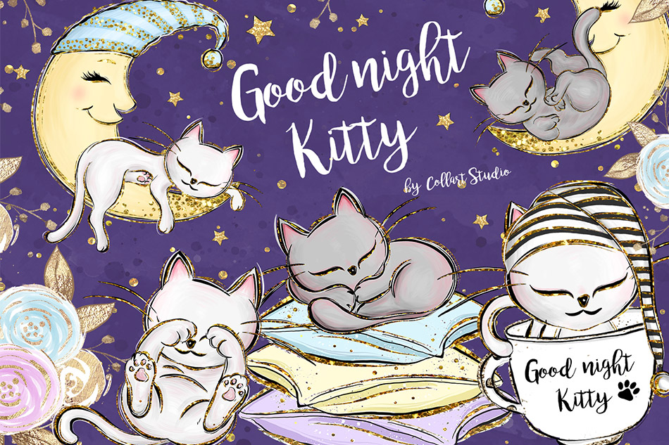 Kittens Clipart, Cute Cats Illustrations, Printable Graphics example image 1