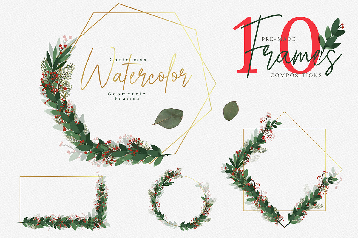 Christmas Watercolor Geometric Frames Collection example image 5