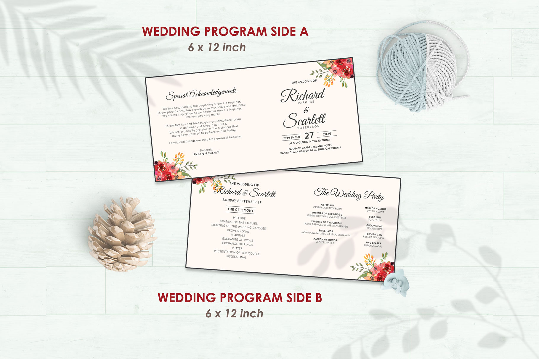 Wedding Invitation Set #2 Watercolor Floral Flower Style example image 5