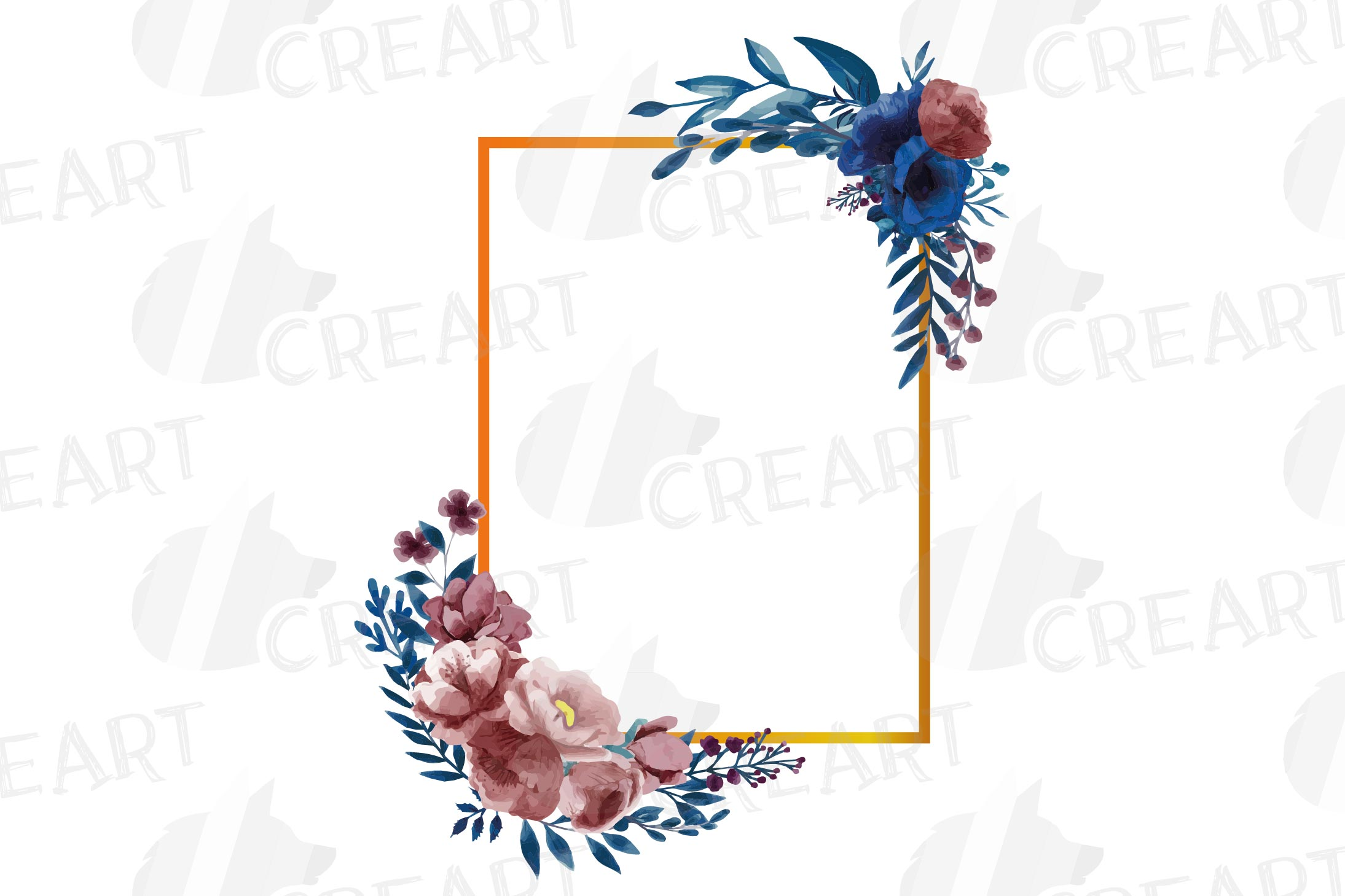 Watercolor elegant navy blue and blush floral borders vector example image 21