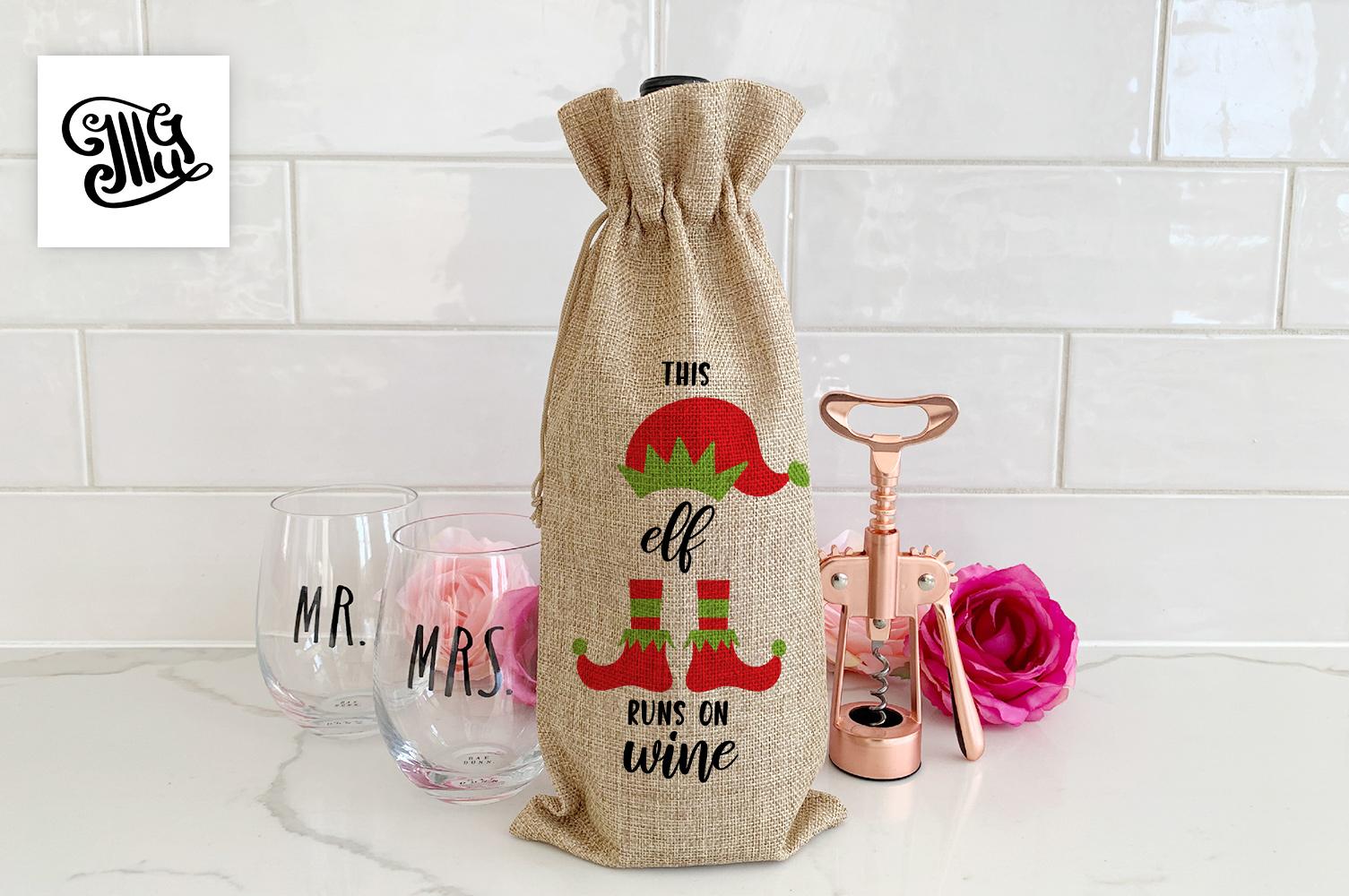 Christmas wine bag svg bundle example image 12
