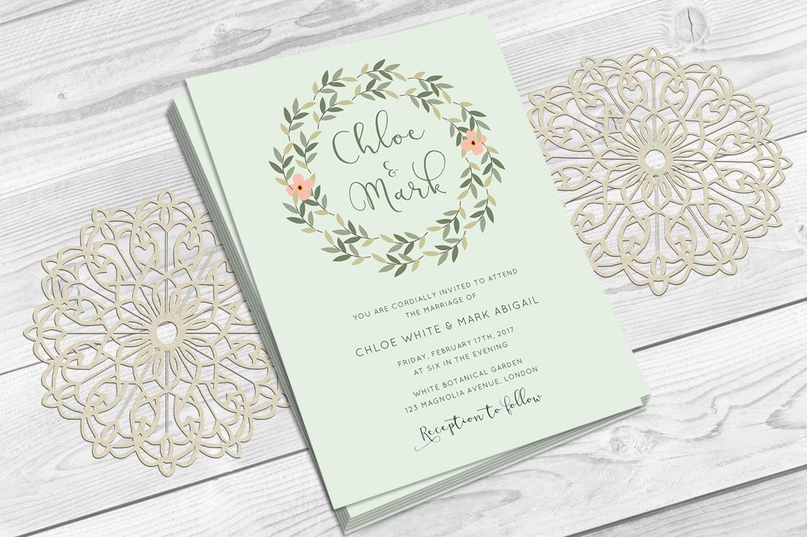 Leaves Wreath Wedding Invitation example image 2