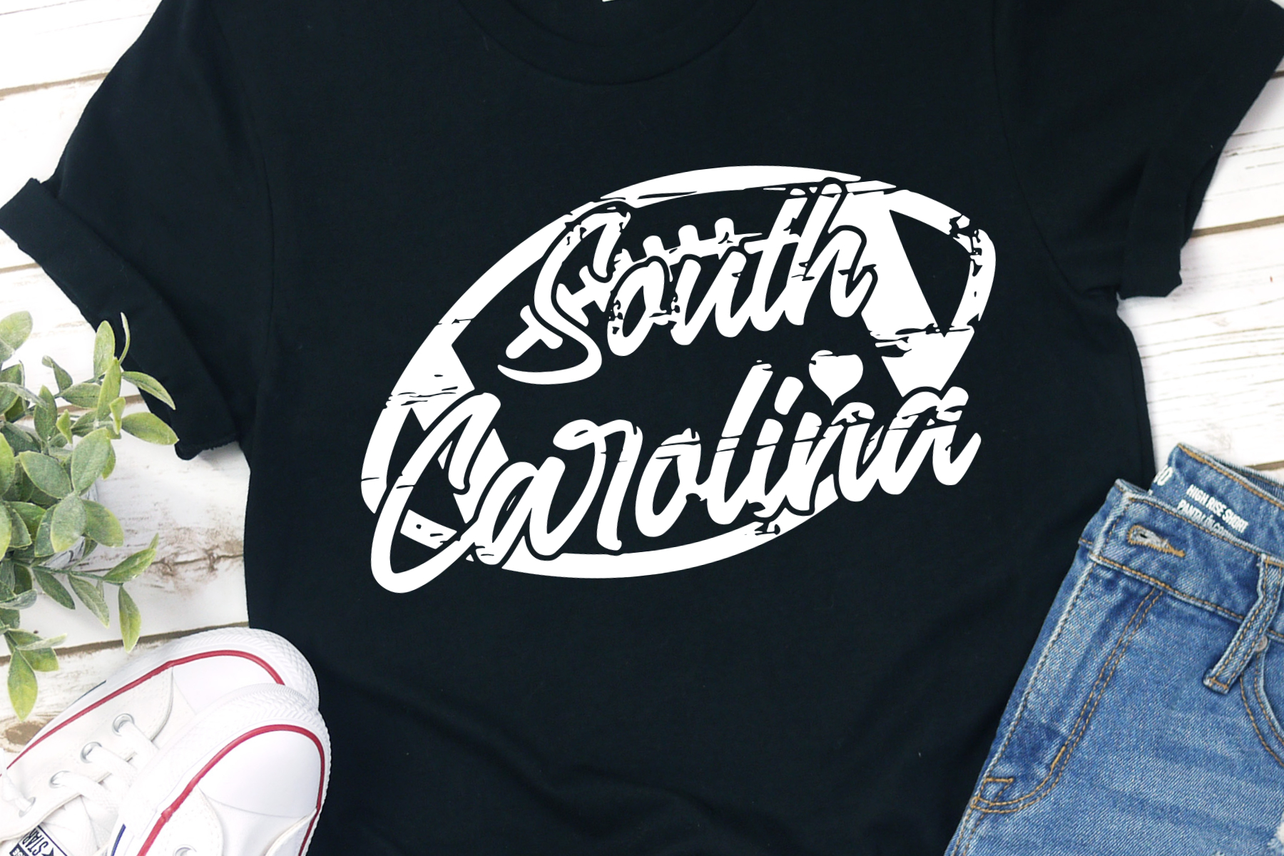 South Carolina Football Grunge Distressed Football SVG example image 1