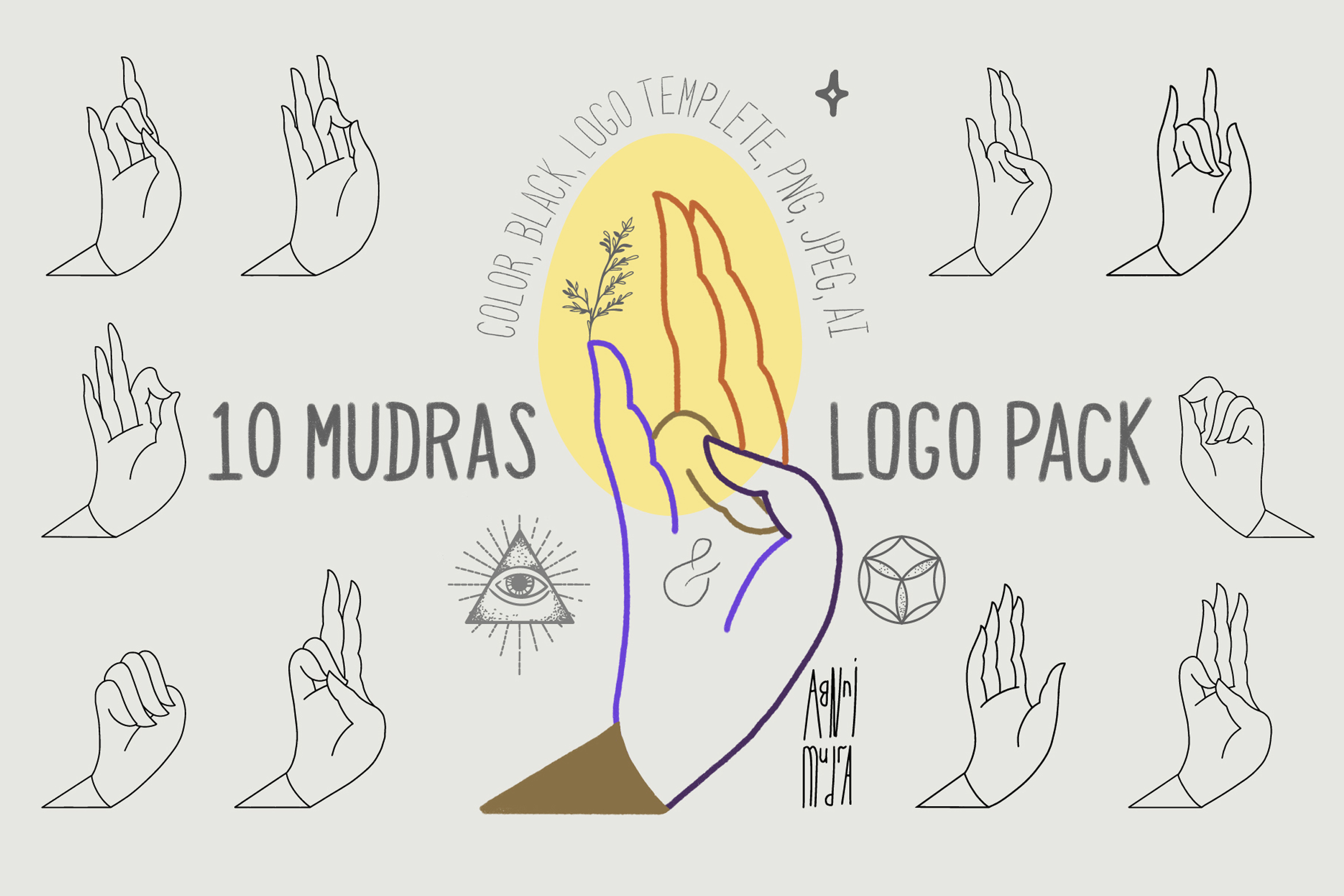 10 Mudras & Logo Pack. SVG/Ai/PNG example image 1