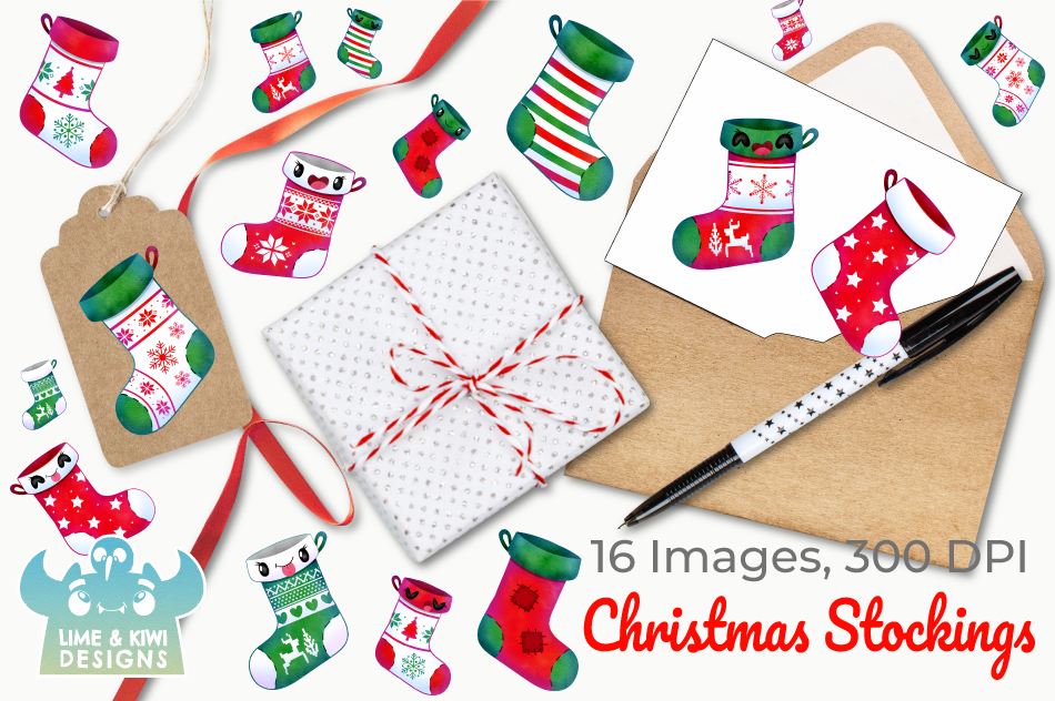 Christmas Stockings Watercolor Clipart, Instant Download example image 4
