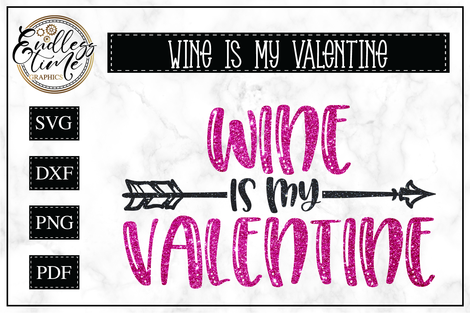 Wine Glass is My Valentine SVG Cut File  example image 1