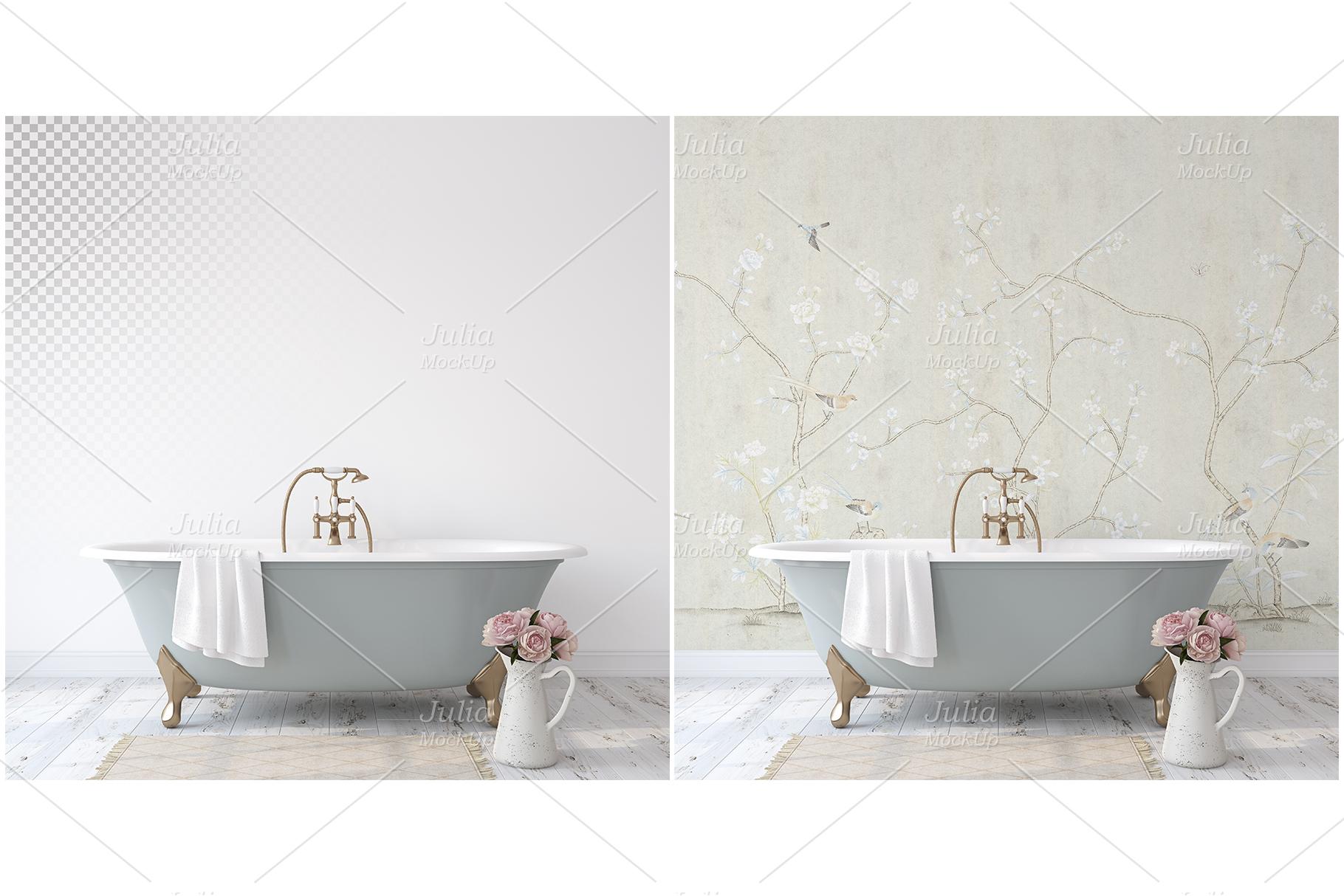 Romantic bathroom. Wall&Frames Mockup. example image 3