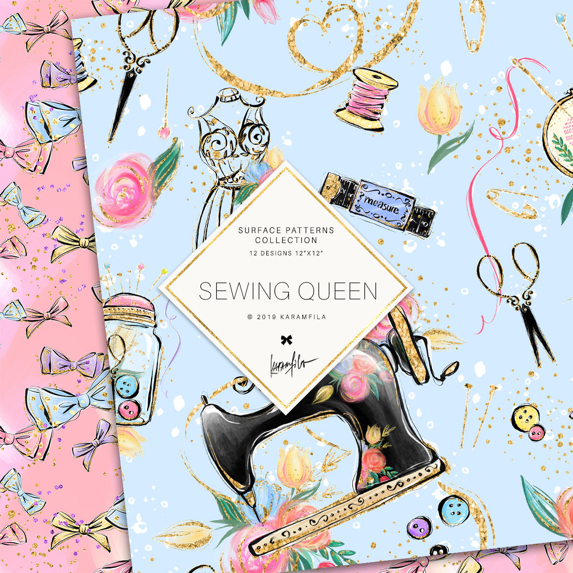 Sewing Girl Digital Paper example image 3