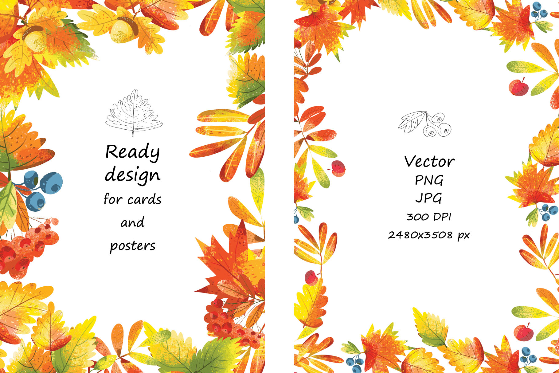 Autumn Leaves - over 30 objects, frames, patterns example image 4