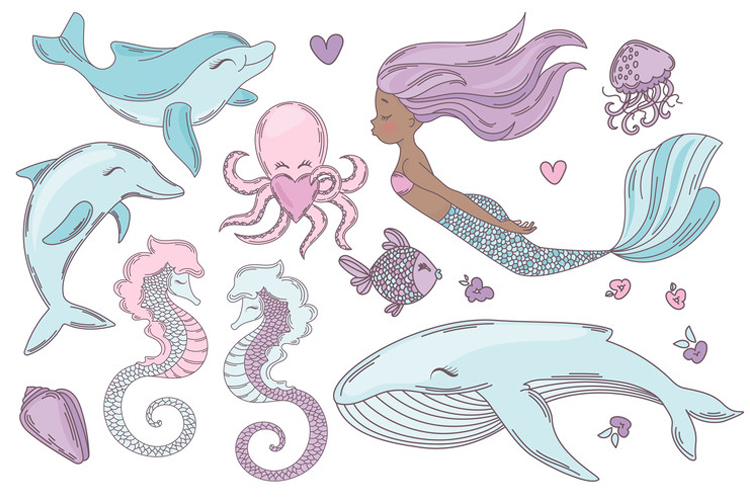 MERMAID IN LOVE Tropical Travel Vector Illustration Set example image 12