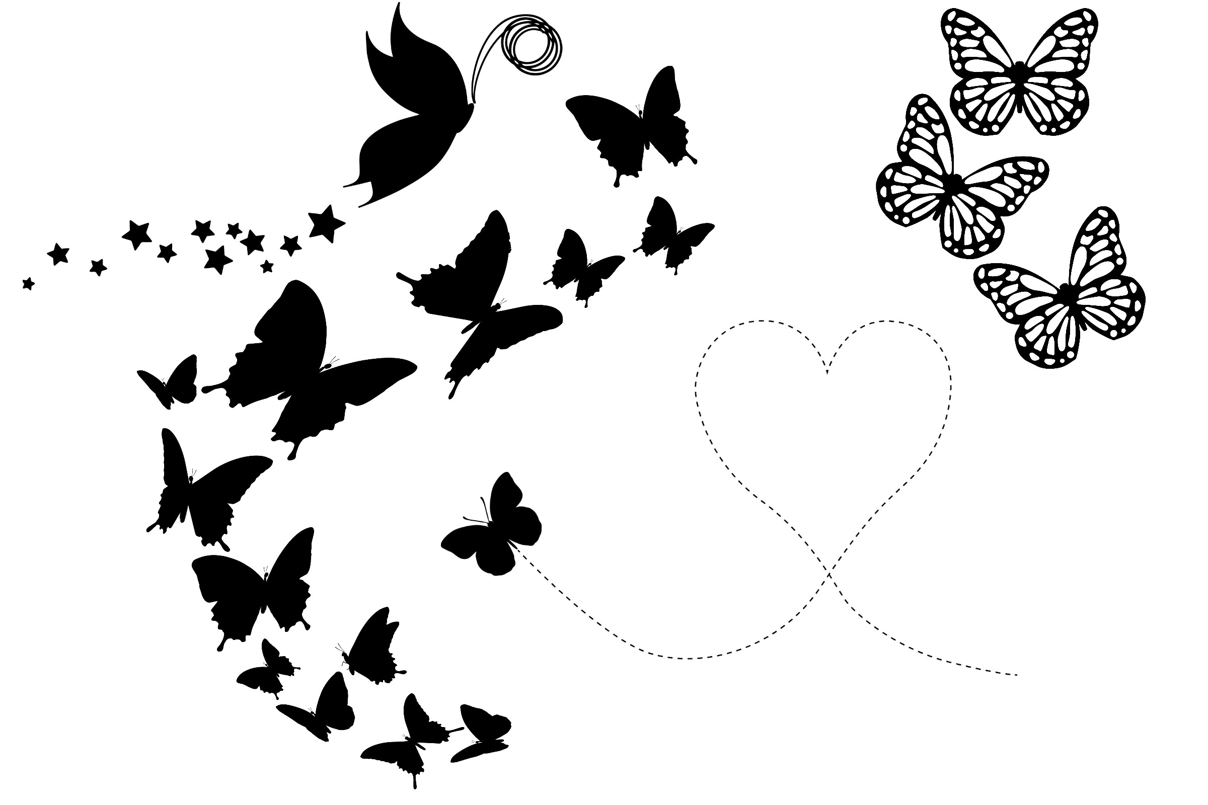 Butterfly Silhouettes AI EPS PNG example image 4