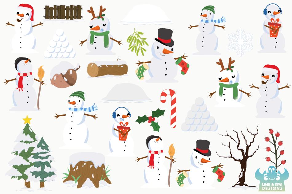 Christmas Snowmen Clipart, Instant Download Vector Art example image 2