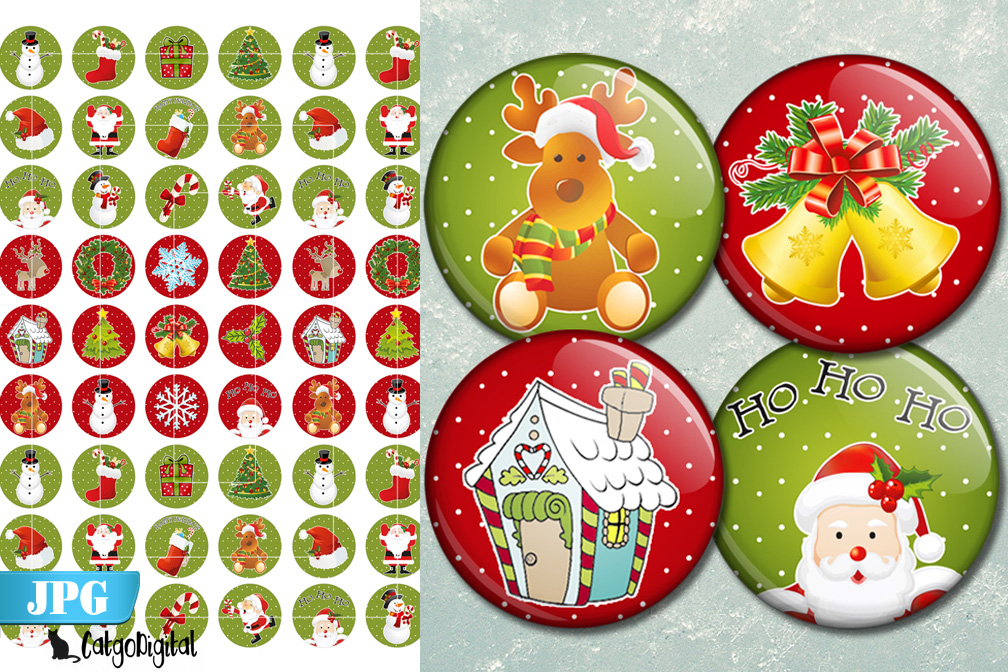 Christmas printable circle images 1 inch bottlecap example image 1