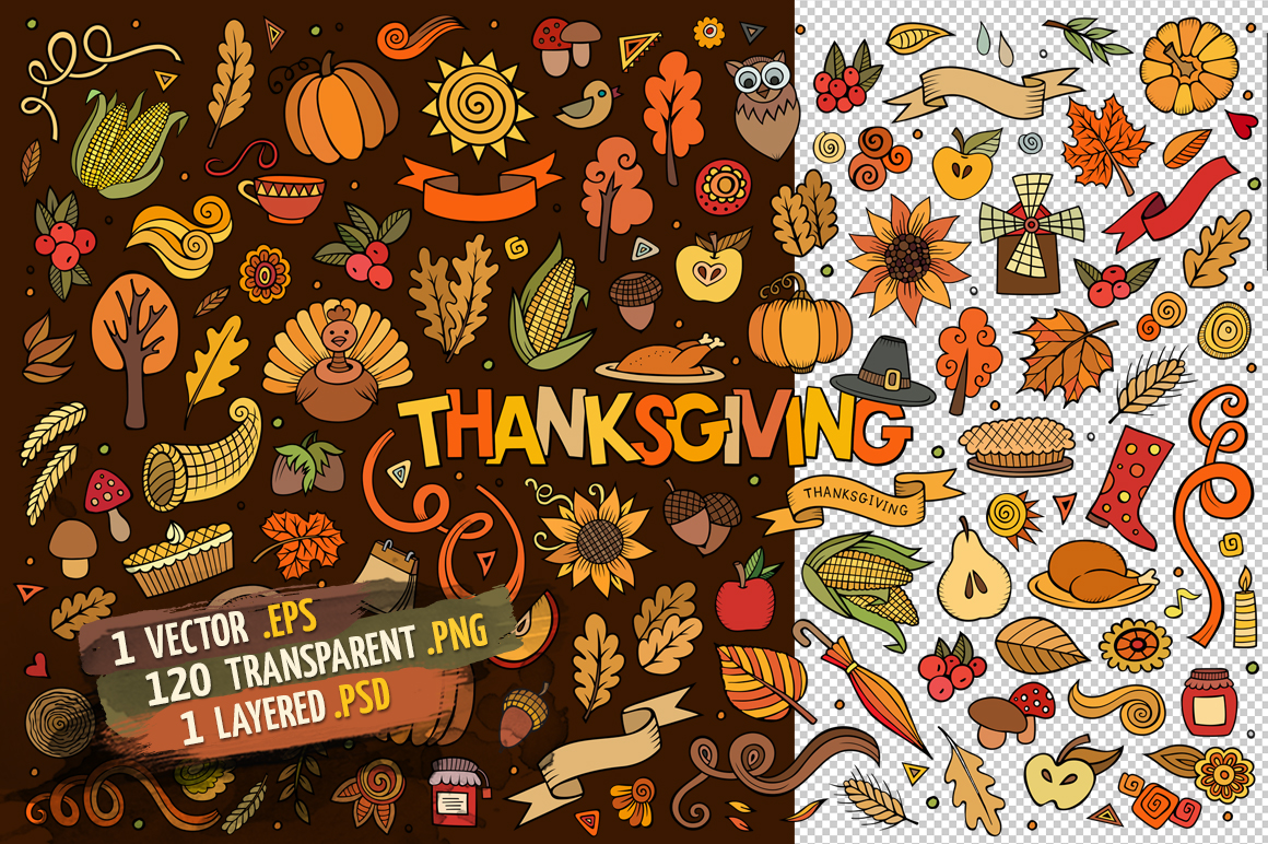 Thanksgiving Objects & Elements Set example image 2