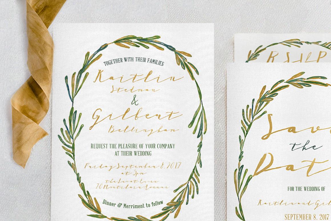 Elegant Wreath Wedding Invitation Suite example image 4