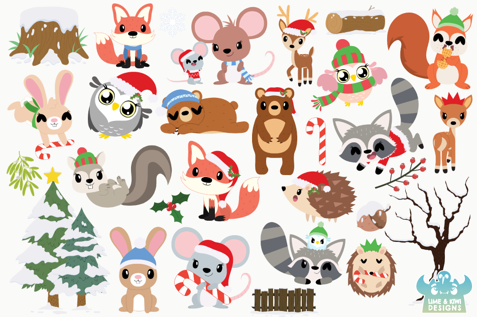Christmas Woodland Animals Clipart, Instant Download example image 2