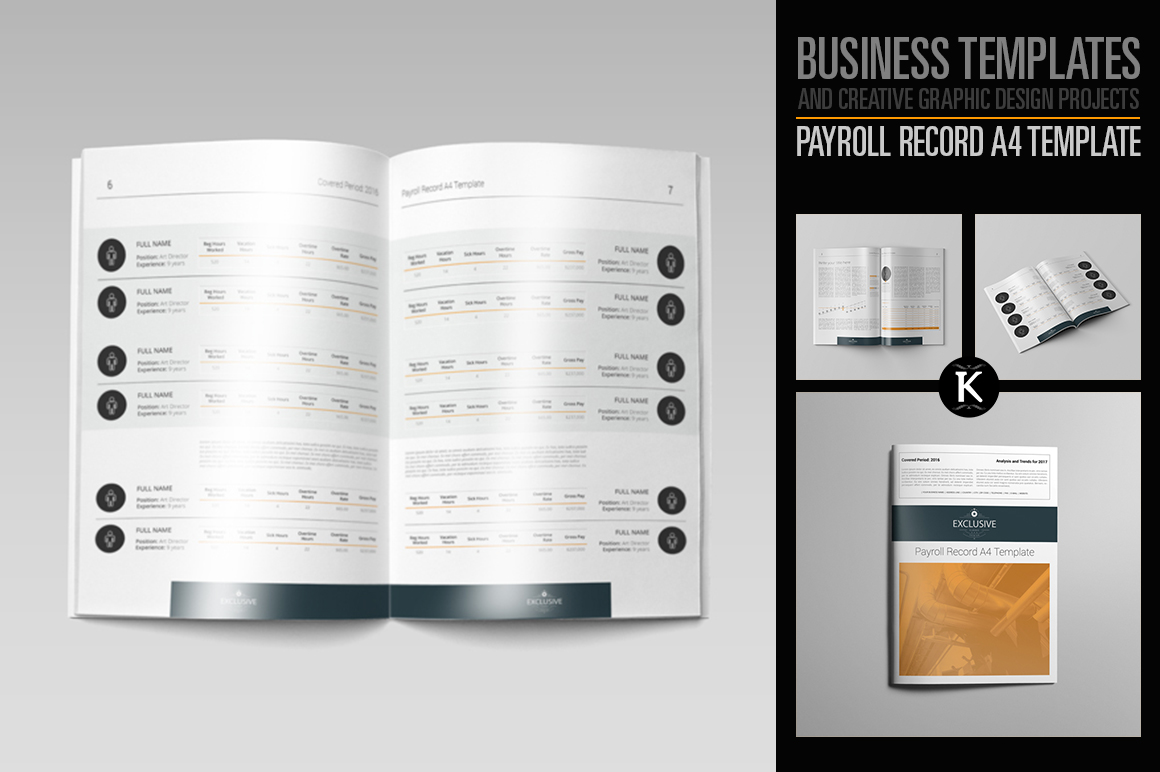 Payroll Record A4 Template example image 1