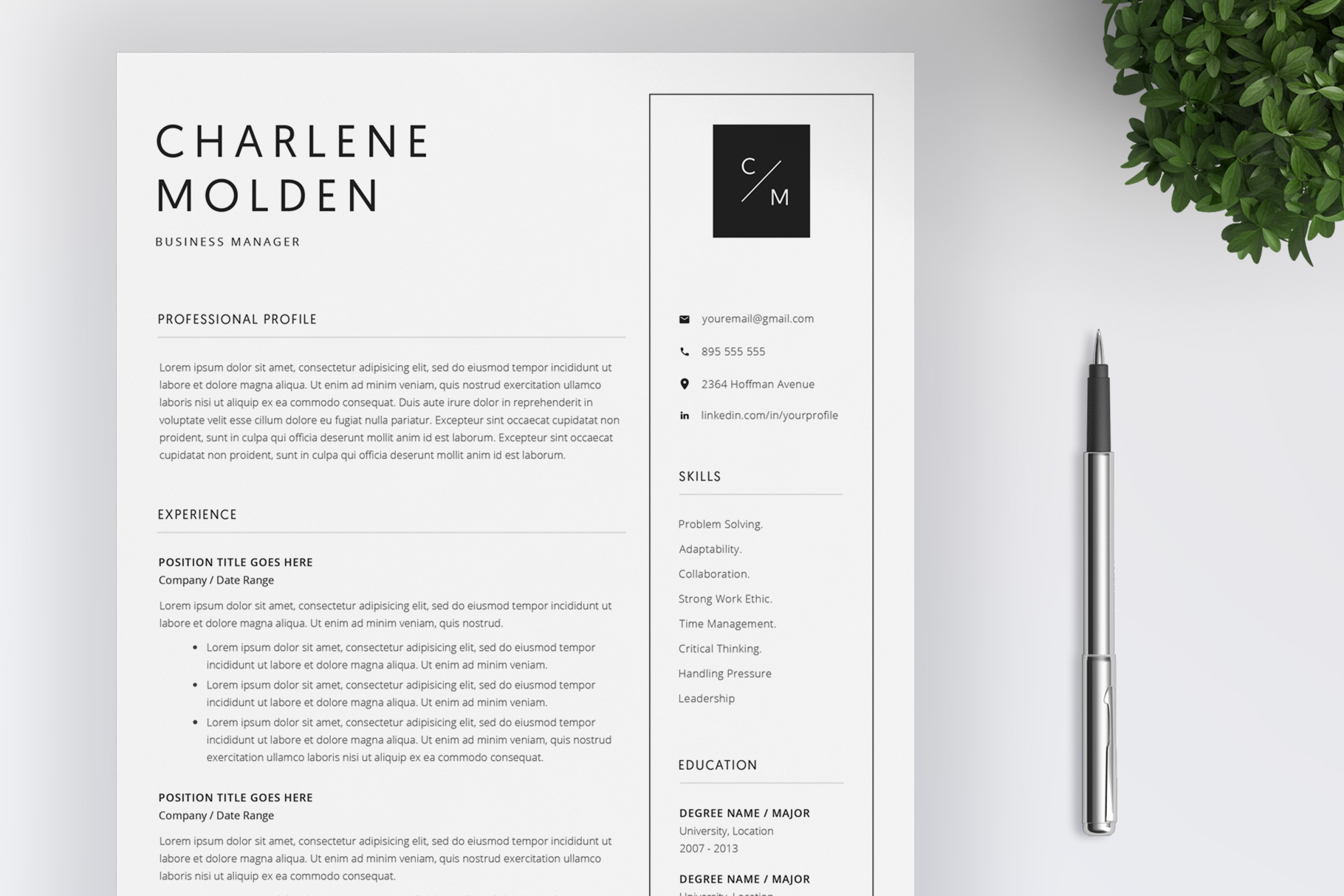 Creative Resume Template   Cover Letter example image 1